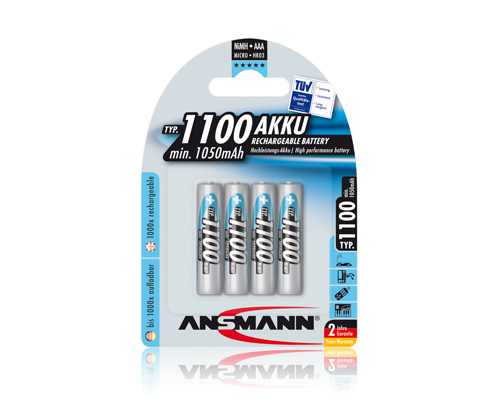Ansmann AAA NiMH 1100mAh Rechargeable (Pack of 4)