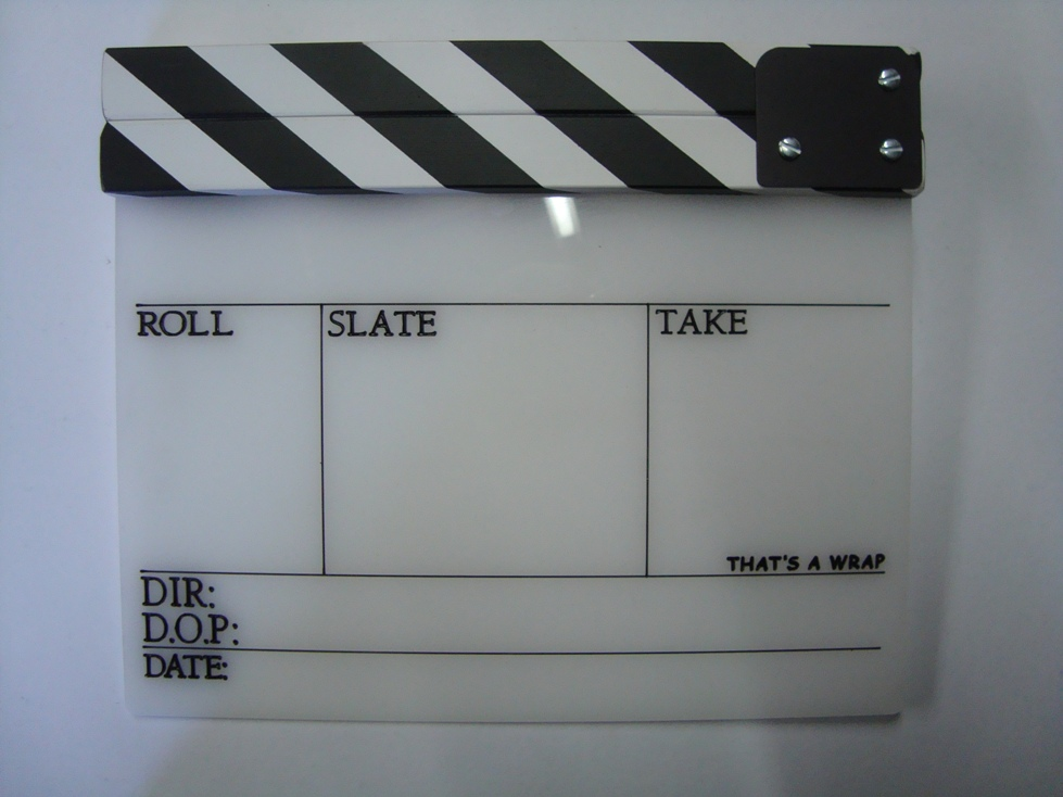 Professional Perspex Clapperboard With Clapper Stick (Medium)