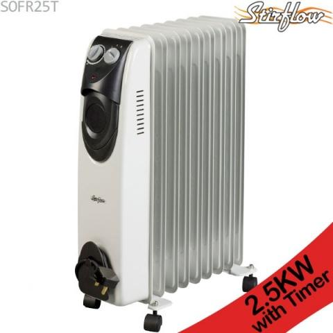 Stirflow 2.5kW Oil Filled Portable Radiator (Heater) With Timer