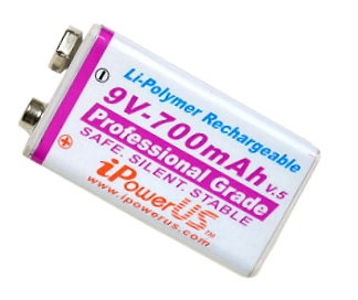 iPowerUS 9V 700mah Li-polymer Rechargeable Battery